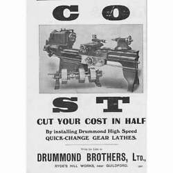 Rydes Hill Drummond Brothers Ltd Engineers Gear Lathes - Antique Advert 1909
