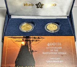 400th Anniversary Of The Mayflower Voyage 2 Coin Gold Proof Set Us Mint 🇺🇸🇬🇧