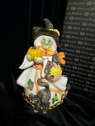 Fitz And Floyd Halloween Harvest Witch Candy Jar/ Lidded Box, New In Box
