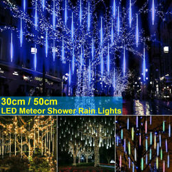 Christmas Led Lights Meteor Shower Rain Snowfall Icicle Garden Outdoor Decor Usa