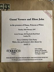Invitation To A Social Event With Princess Diana Gianni Versace And Elton John