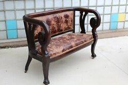 Gothic Leather And Wood Settee Throne Circa 1890 Claw Foot Antique Empire
