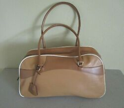 PRADA Made in Italy Brown Large Leather Bowler Bowling Bag White Piping Hand Bag $145.00