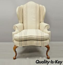 Pennsylvania House Queen Anne Rolled Arm Wingback Lounge Arm Chair