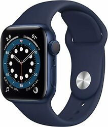 Apple Watch Series 6 Gps 40mm Blue Aluminum Case With Deep Navy Band - Mg143ll/a