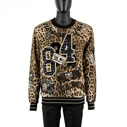 Dolce And Gabbana Leopard Sweater With Music Jazz Blues Embroidery Black 08937