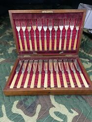 Antique Fish Cutlery Service For 12