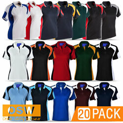 20 X Womens Ladies Alliance Cool Dry Short Sleeve Sport Casual Work Polo Ps62