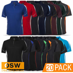 20 X Mens Adult Pique Knit Breathable Cool Dry Bell Short Sleeve Polo Shirt 7bel