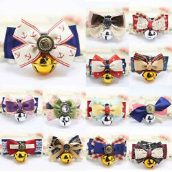 Dog's Bow Tie Collars With Bell Necklace Floral For Small Puppy Pets Cats