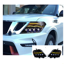 For Nissan Armada Led Headlights Led Drl 12-19 Replace Oem Headlights Sequential