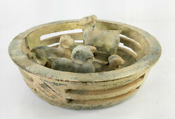 Antique Chinese Green Glazed Han Ming Style Pottery Model Of Rams Burial Figure