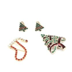 Holiday Christmas Tree Stocking Two Brooches And Clip Earrings Pair Rhinestone