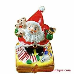 Santa W/bell - Limoges Box Authentic Porcelain Figurine From France
