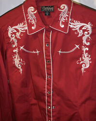Cattlelac Ranch Red Women#x27;s Western L S Embroidered Rhinestone Button Up Size M $34.99