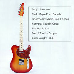 Electric Guitar Basswood Body Maple Neck Fingerboard Red Turn Yellow Color