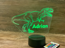 Dinosaur Night Light Personalized for Free with Remote Control and Free Shipping $32.95