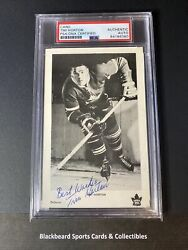 Tim Horton Autograph Signature On 1960and039s Team Issued Postcard Psa Dna Rare