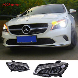 For Benz Cla Headlights Assembly 2014-2019 All Led Projector 【halogen Upgrade】