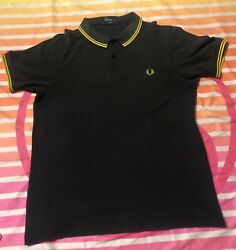 Mens Fred Perry Black Yellow Twin Tipped Polo Slim Medium Adult Small $50.00