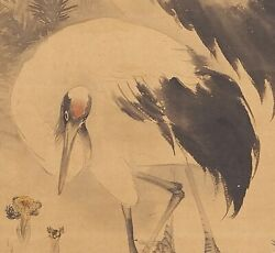 Japanese Art Painting Crane Hanging Scroll Old Japan Antique Picture E318