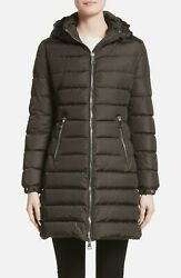 Nwt Moncler A-line Hooded Down Puffer Coat, Olive, Moncler 5/us Xl, Msrp 1660