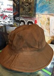 Vintage Wwi Wwii Us Army Emergency Brown Color Denim Bucket Hat. Size 7 Rare
