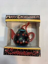 Mary Engelbreit Miniature Hanging Black And Red Teapot Cherry Christmas Ornament