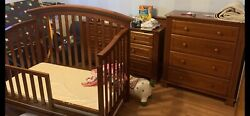 Crib Set Includes Toddler Rail Mattress With Cover And Bedding Two Dressers.