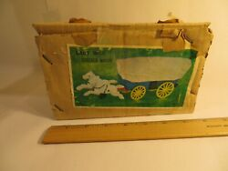 Cast Iron Toy Covered Blue Wagon White Horses Collectible New With Box