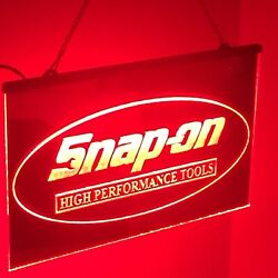 """Snap On Tool Mirrored Led Light Sign Game Room , Bar , Garage Sign Large 16x12"""""""