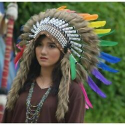 Warbonnet Hat Apache Feather Indian Native American Headdress Brown Fur Rainbow