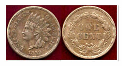 1859 1c- Strong Diamonds In The Ribbon- Indian Head Cent++
