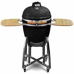 Ceramic Kamado Bbq Grill - Red Or Black - 21 With Stand And Bamboo Sideboard