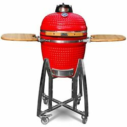 Ceramic Kamado Bbq Grill - Red Or Black - 18 With Stand And Bamboo Sideboard