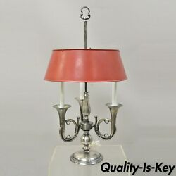 Antique French Empire Trumpet Arm Metal Shade Nickel Plated Bouillotte Desk Lamp