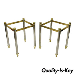 Maison Jansen Style Steel Chrome And Brass Hollywood Regency End Tables - A Pair