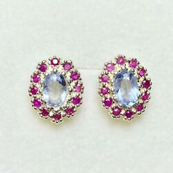 Rare 0.95ct Natural Blue Heckmanit 925 Silver / 9ct 14k 18k White Gold Earrings
