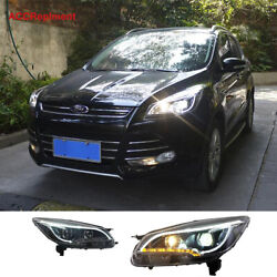 New For Ford Escape Headlights Assembly 2013-2016 Doouble Beam Projector Led Drl