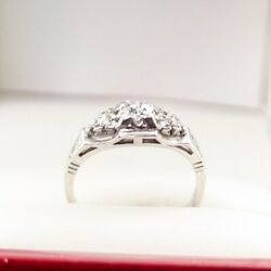 Vintage Antique Engagement Ring With An Old Cut Diamond Offset By Three Diamo...