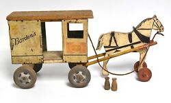 Vintage Borden's Milk Tin Litho Delivery Cart With Wood Horse By Rich Toys