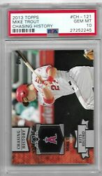 2013 Topps Chasing History Ch-121 Mike Trout Graded Psa 10 Gem Mint Pop. 1/1