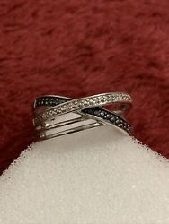 925 Sterling Silver 4 Grams Black And White Diamond Band Scrap Or Wear