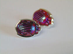 Rare Signed Favrile Art Glass Red Scarab And Sterling Silver Earrings