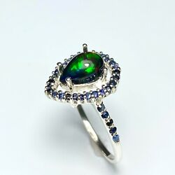 Natural Black Welo Opal 925 Silver 9ct 14k 14ct 18k 18ct Gold 375 585 750 Ring