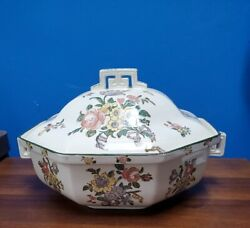 Royal Doulton England Old Leeds Spray D3548 Covered Vegetable Bowl Dish With Lid