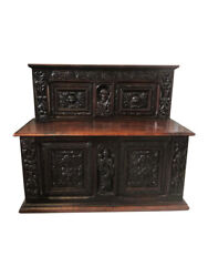 French Gothic Antique Bench With Mary With Christ Carvings Oak 19th Century