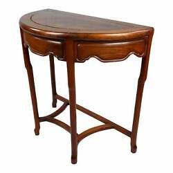 Chinese Demi-lune Carved Console Table