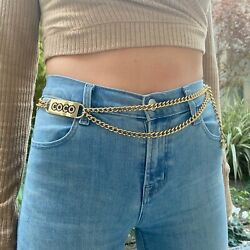 02p Vintage Light Gold And Pink Crystal Coco Plaque And Cc Logo Chain Belt