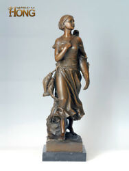 23and039and039 Art Deco Sculpture Woman Hold Three Fish Bronze Statue